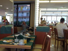 Lloret hotel not our scene: narrow beds, harsh canteen.